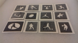 10 - 100 sport themed mini small stencils for etching on glass  Ideal for Fund raising,  hobby craft cheerleader baseball cricket football